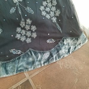 Anthropologie Skirts - Anthro Lithe Blue Beaded Velvet Conservatory Skirt